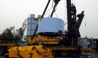 Khởi công hạng mục: xử lý nền đường bằng cọc xi măng đất, Dự án Nhà máy xử lý khí Cà Mau