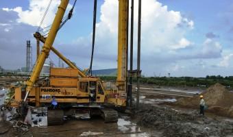 Xử lý nền đường bằng cọc xi măng đất, Nhà máy xử lý khí Cà Mau